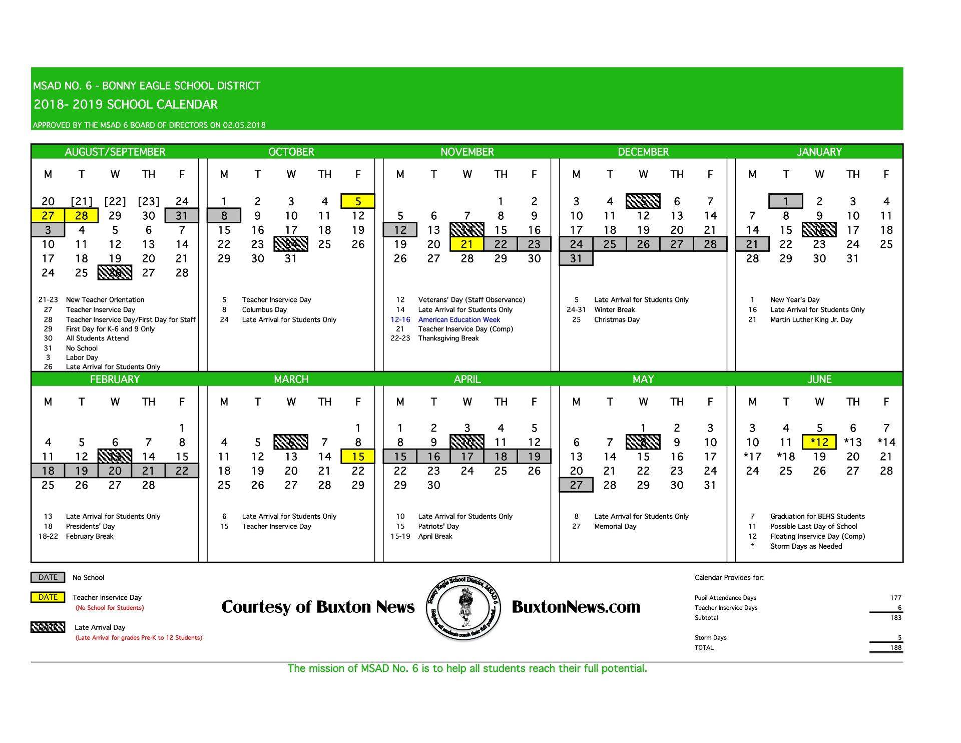 Msad 6 School Calendar 2018 – 2019 – Buxton News_Msad 6 School Calendar