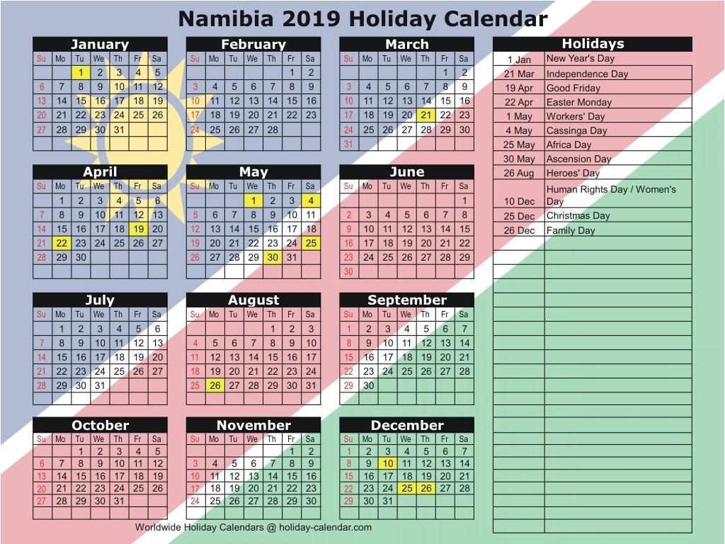 Namibia 2019 / 2020 Holiday Calendar_School Calendar Namibia 2020