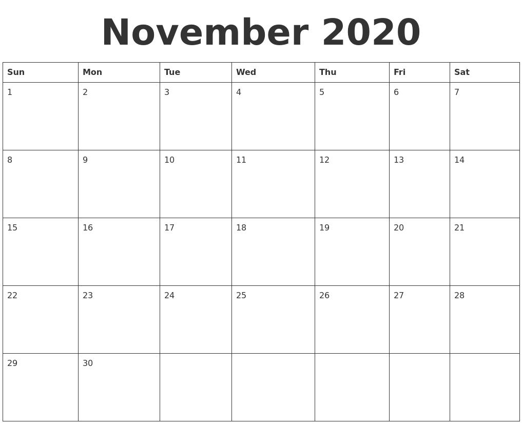 November 2020 Blank Calendar Template_Blank Calendar Template November 2020