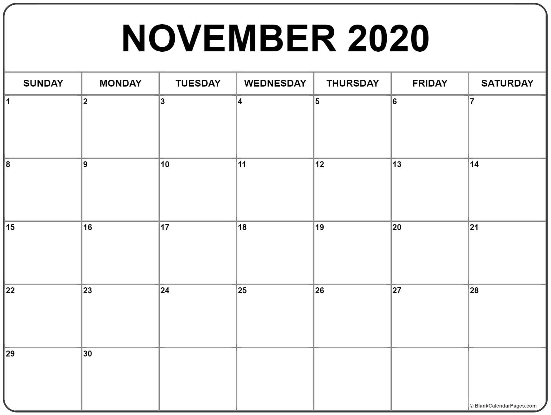 November 2020 Calendar | Free Printable Monthly Calendars_Blank Calendar Template November 2020