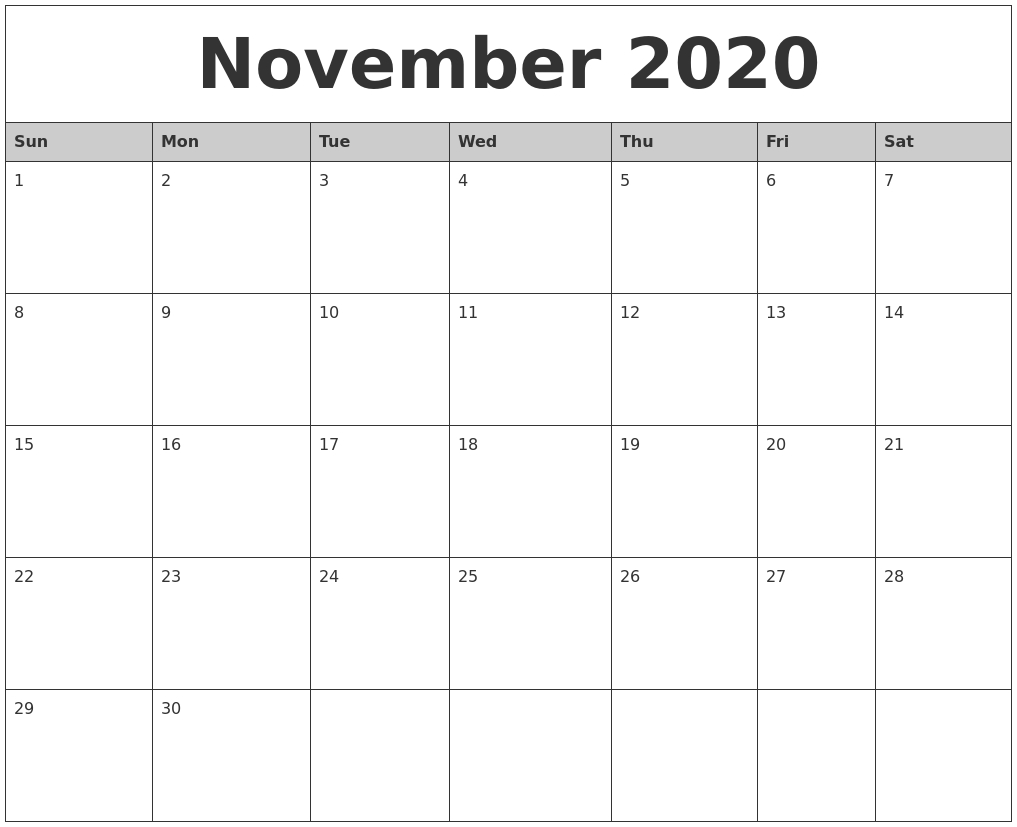 November 2020 Monthly Calendar Printable_Blank Calendar Template November 2020