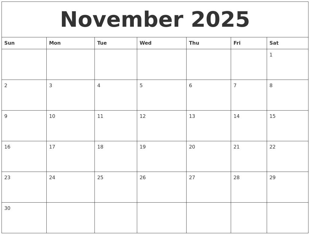 November 2025 Calendar For Printing_Calendar Printing Online Free