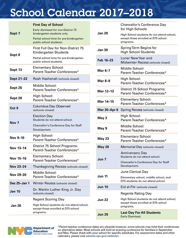 Nyc Doe Calendar 2018 2019 (1) | Download 2019 Calendar Printable_School Year Calendar Nyc