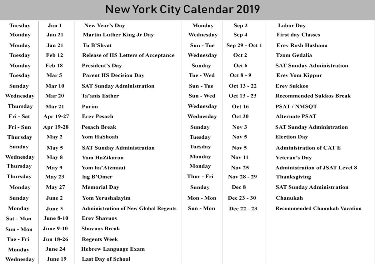 Nyc School Holidays Calendar 2019 – 2020 | Nyc School Calendar_School Year Calendar Nyc