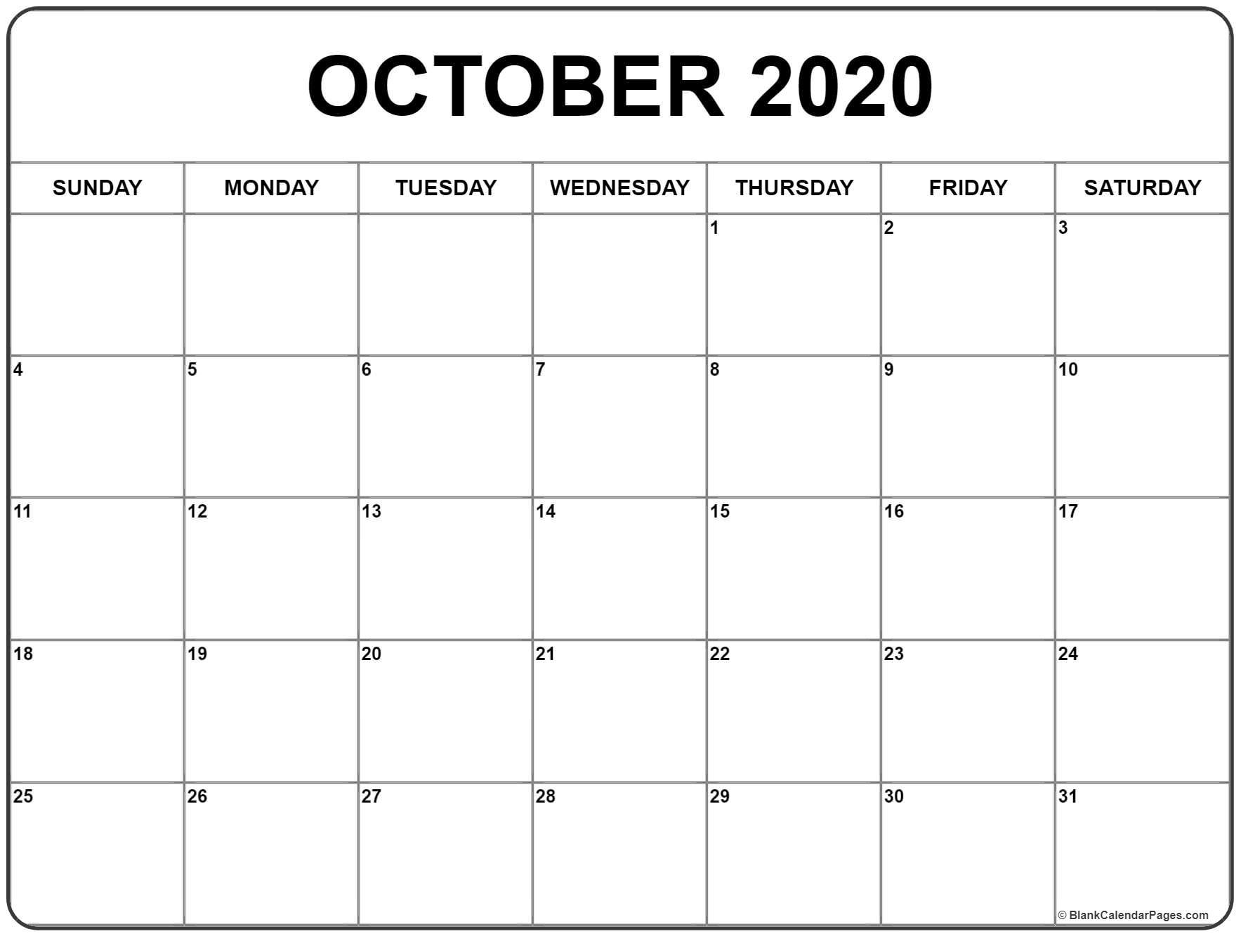 October 2020 Calendar | Free Printable Monthly Calendars_Blank Calendar For October 2020