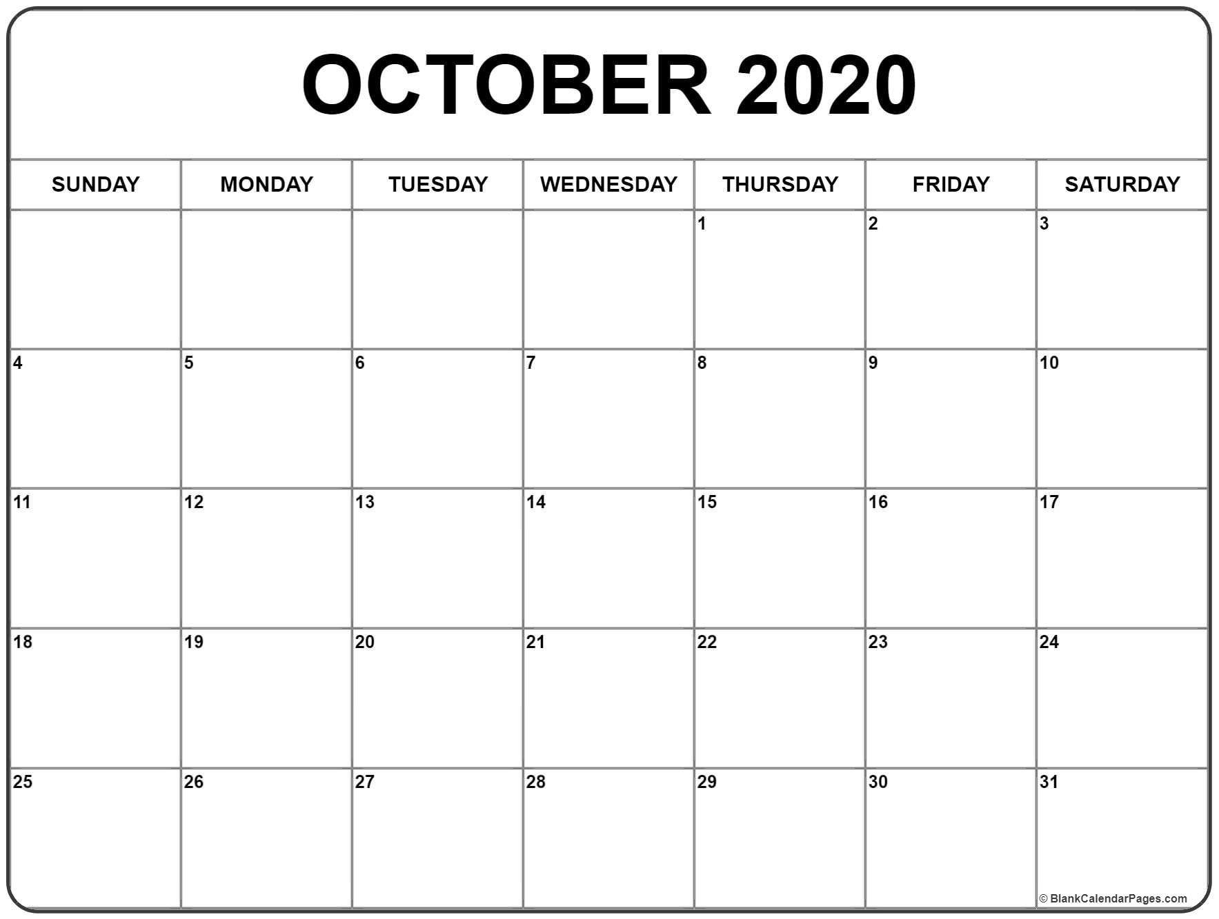 October 2020 Calendar | Free Printable Monthly Calendars_Calendar Blank October 2020