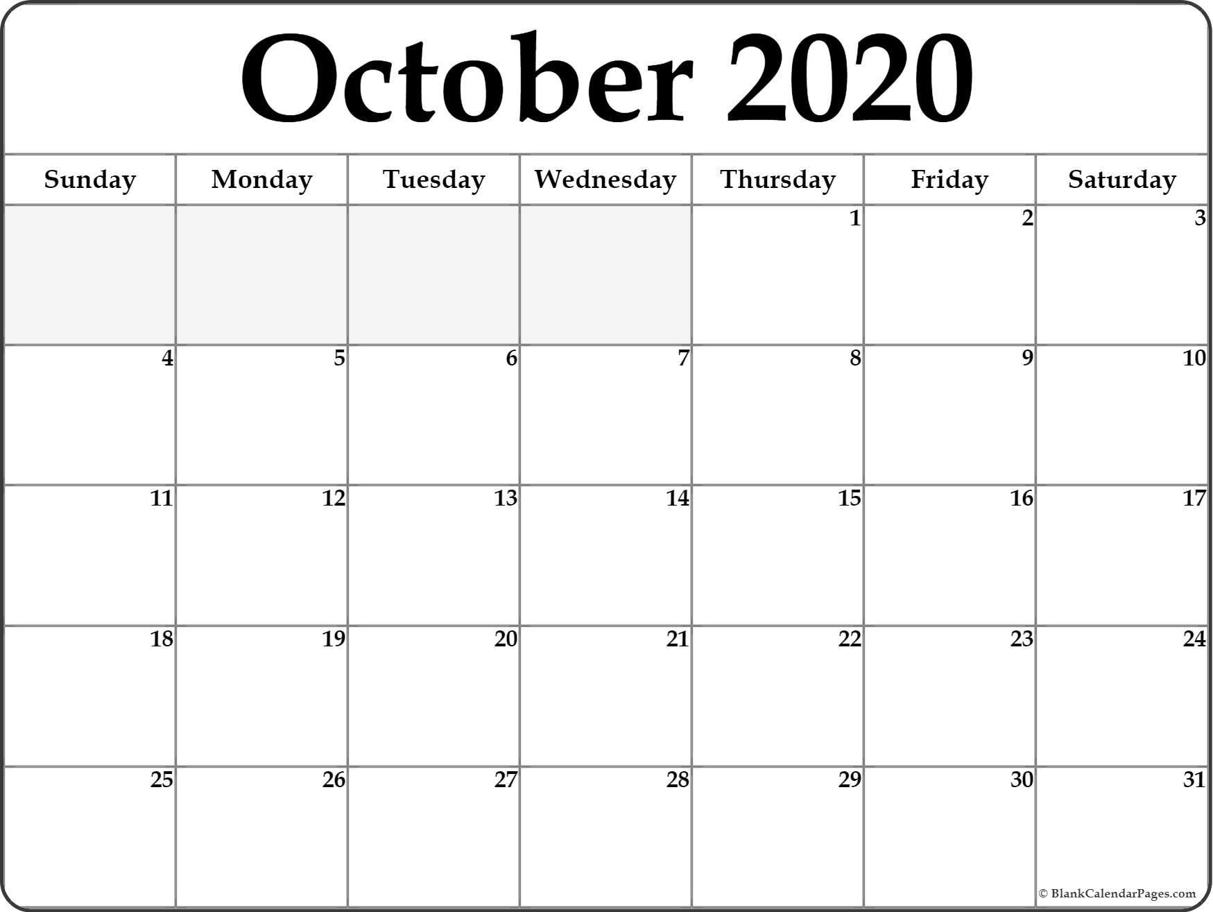 October 2020 Calendar | Free Printable Monthly Calendars_Monthly Calendar Blank 2020