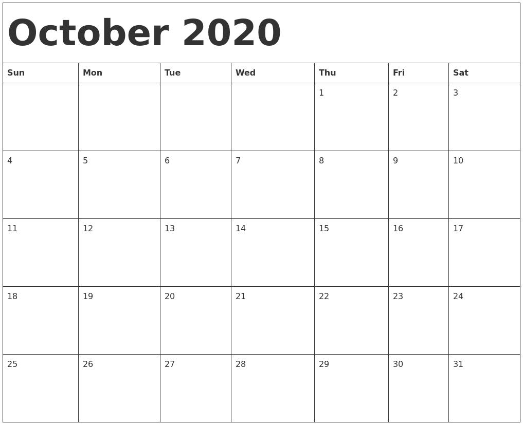 October 2020 Calendar Template_Blank Calendar Template October 2020