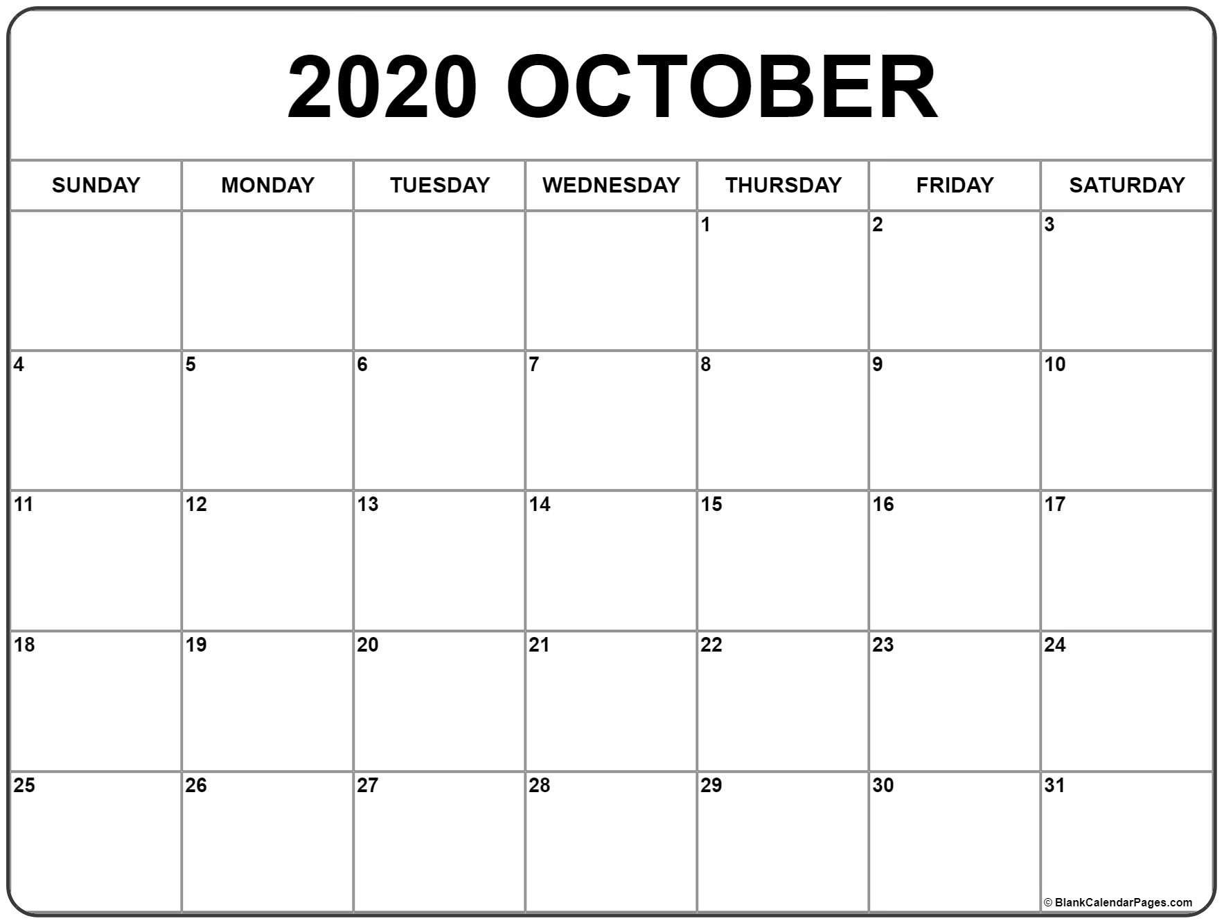 October 2020 Calendar With Holidays Printable  </p>   </div>        <br>     <div class=