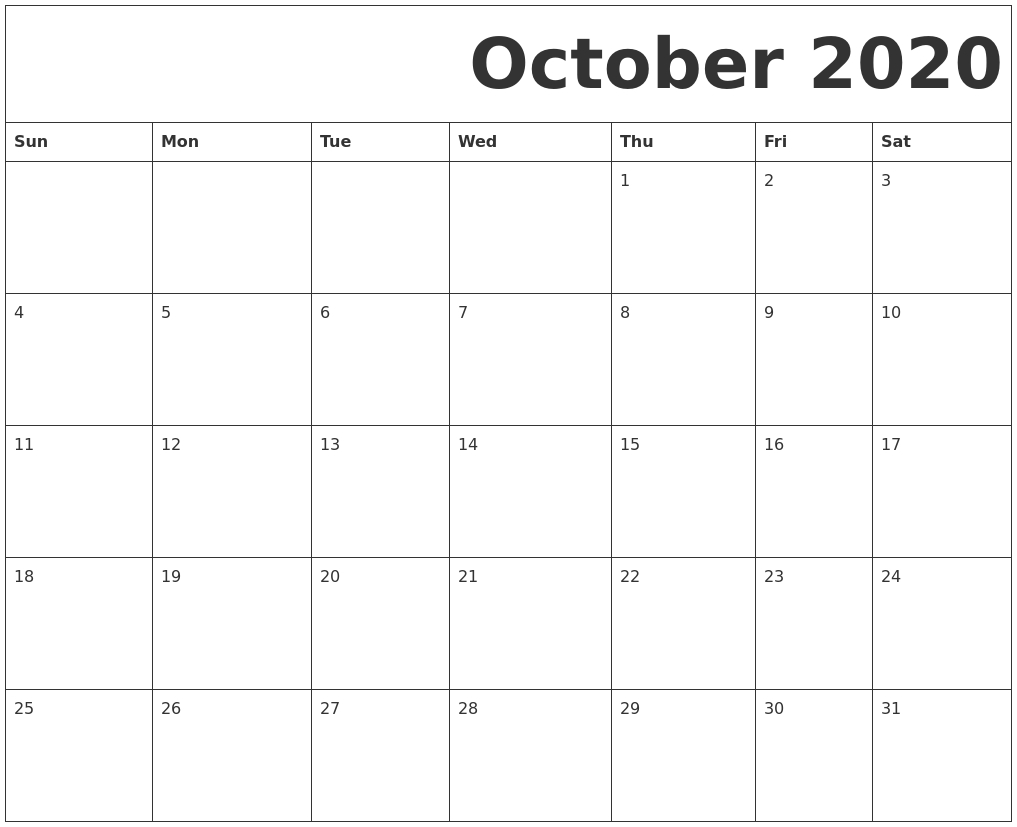 October 2020 Free Printable Calendar_A Blank Calendar For October 2020