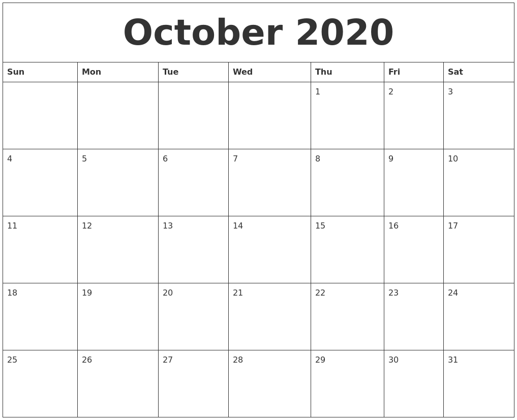 October 2020 Monthly Printable Calendar_Blank Calendar October 2020 Pdf