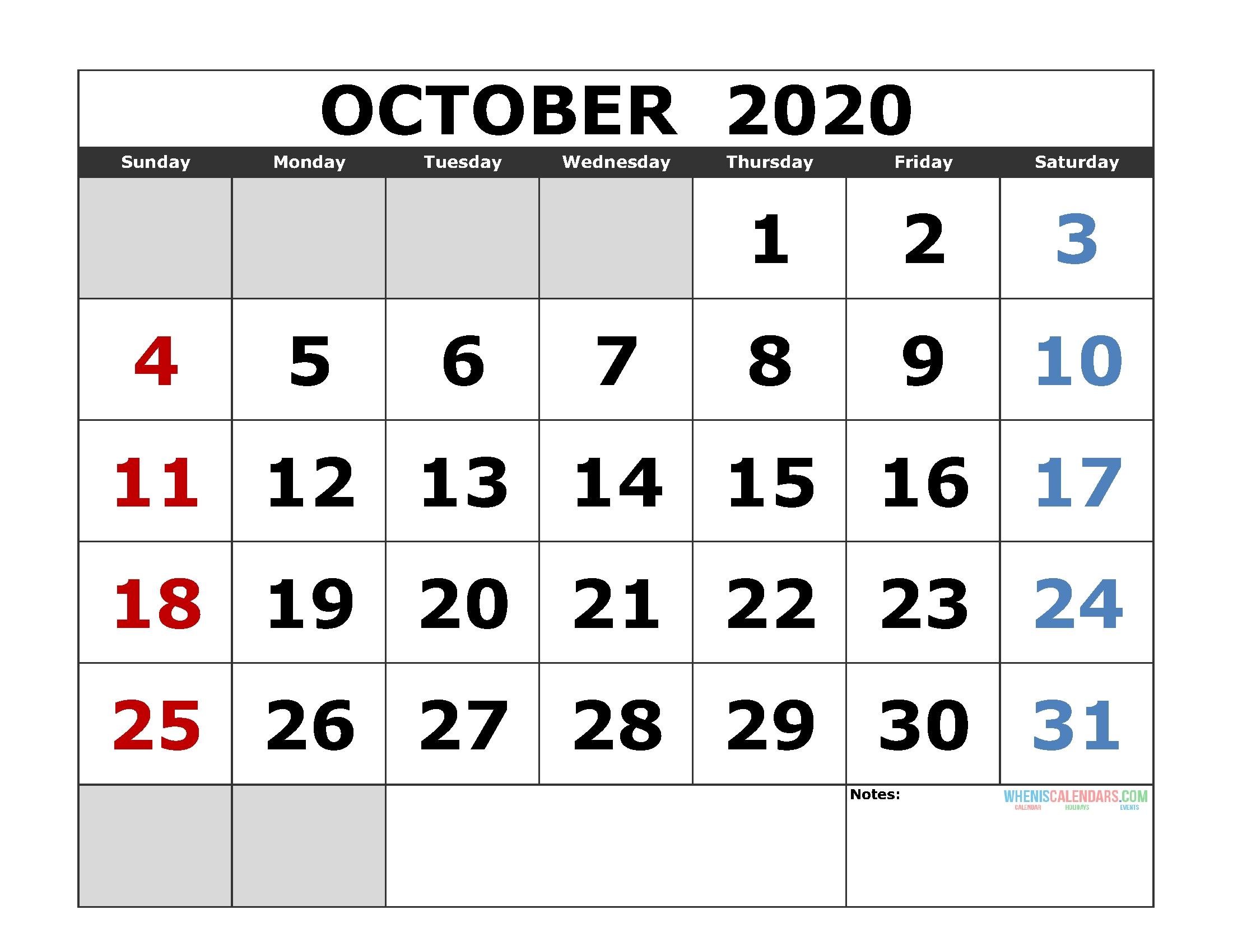 October 2020 Printable Calendar Template Excel, Pdf, Image [Us_Blank Calendar October 2020 Pdf