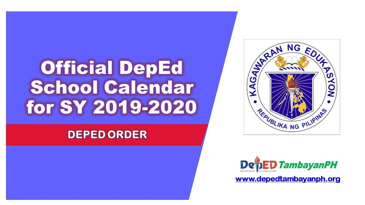 Official Deped School Calendar For School Year 2019-2020 - Deped_School Calendar 2020 To 2020 Deped