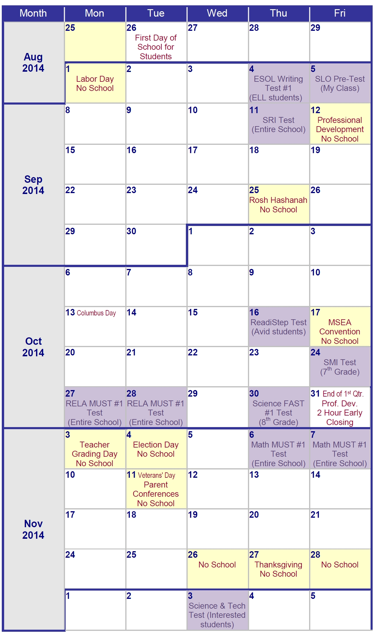 One Local Middle School's Testing Calendar – Prince George's County_P.g. County School Calendar
