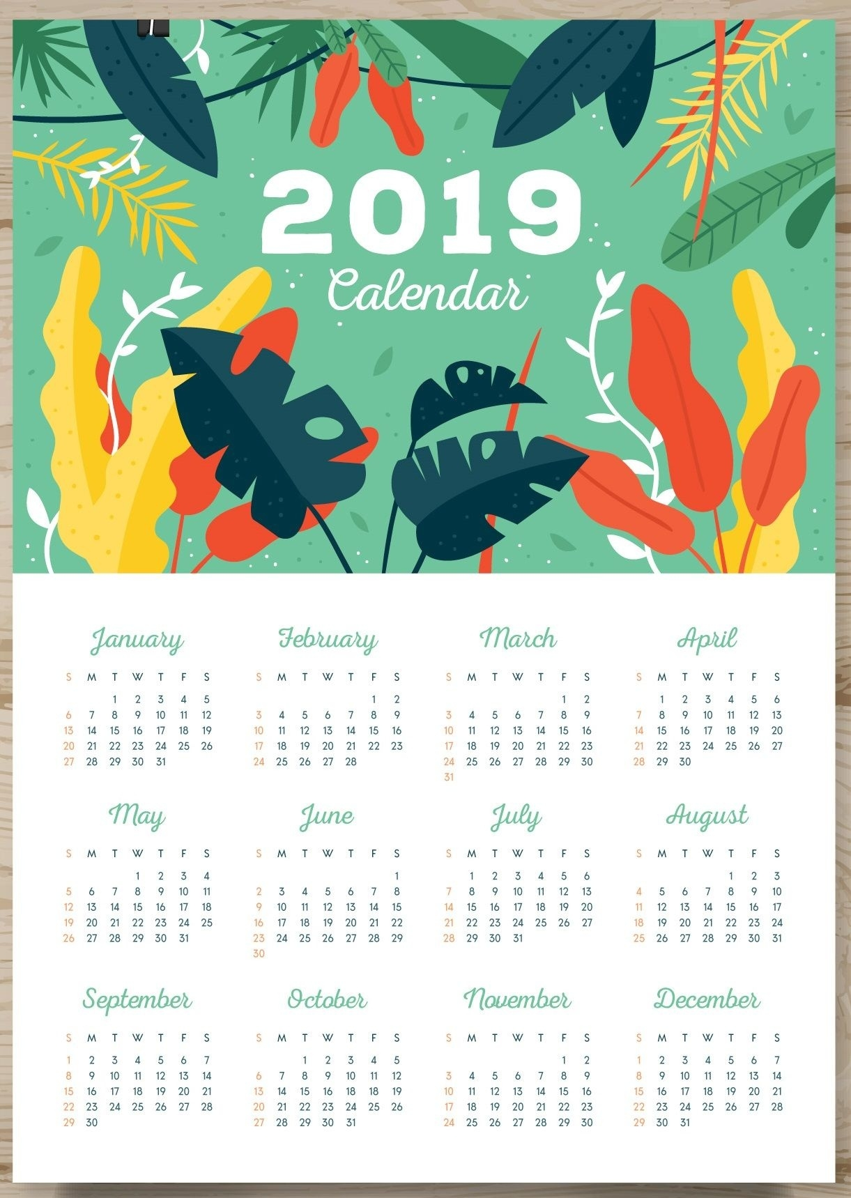 One Page Calendar 2019 | Monthly Calendar Templates | Printable_Calendar Printing One Page
