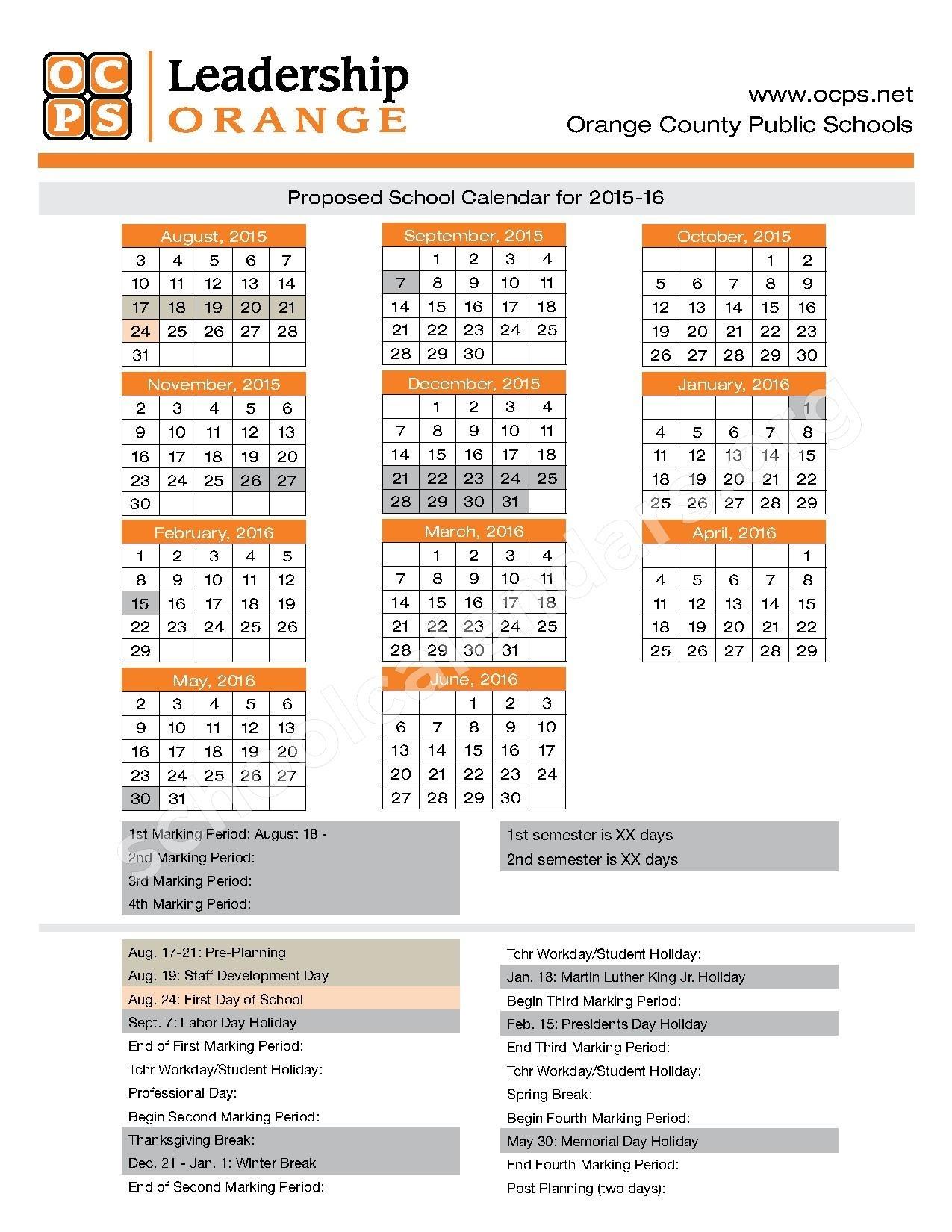 Orange County School Calendar Printable File Download_School Calendar Orange County