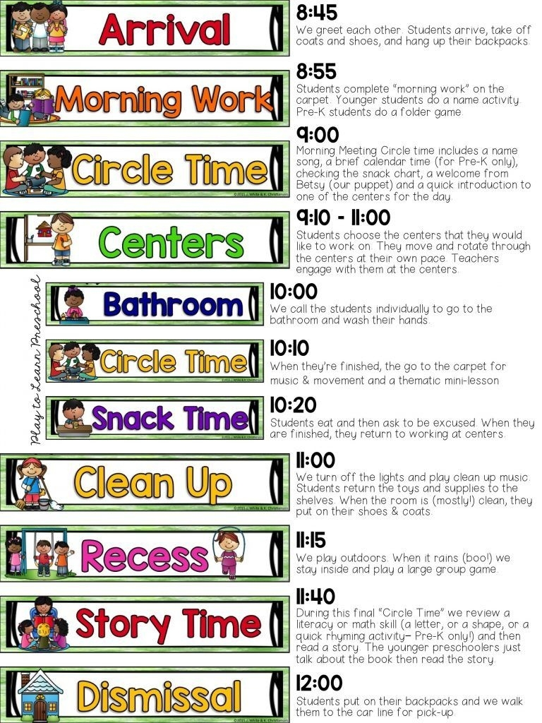 Our Half Day Preschool Schedule | Pre-School | Preschool Schedule_Pre K School Calendar