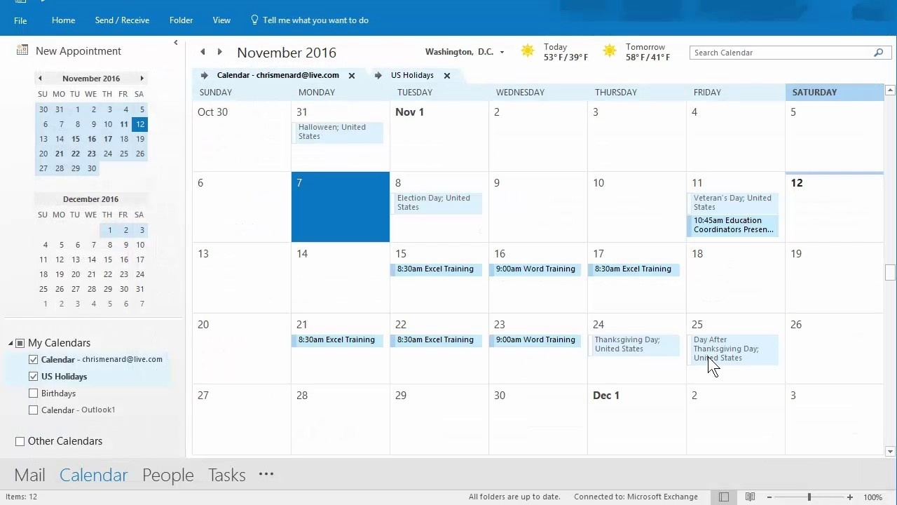 Outlook Calendar Priniting Assistant - 11/12/2016 - Troubleshooting By  Chris Menard_Calendar Printing Assistant Outlook 365