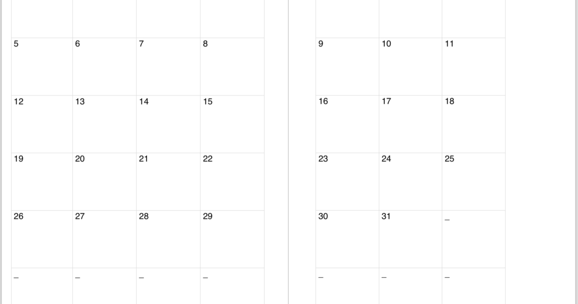 Perky 2 Page Monthly Calendar Blank • Printable Blank Calendar Template_2 Page Monthly Calendar Blank