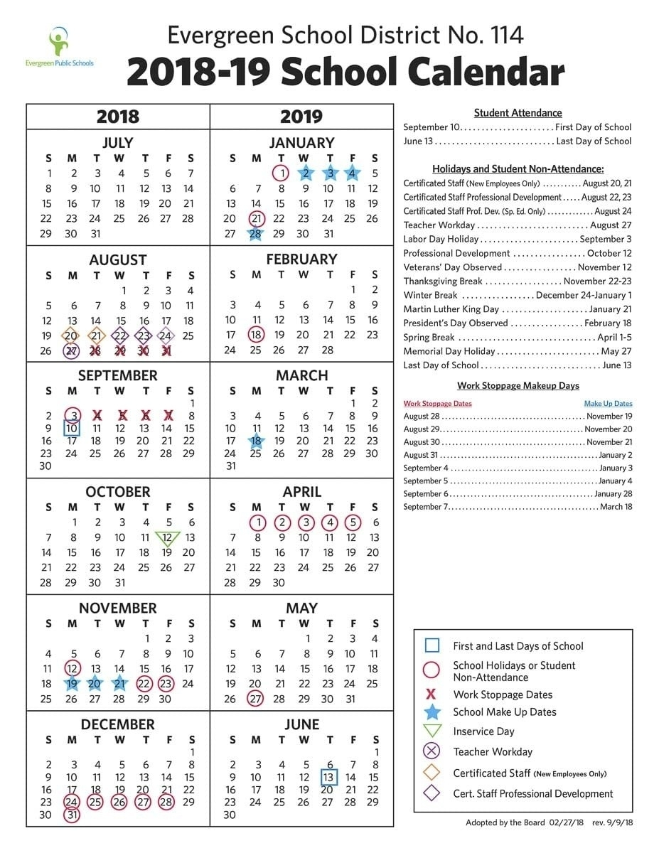 Perky Calendar Evergreen School District • Printable Blank Calendar_Calendar Evergreen School District