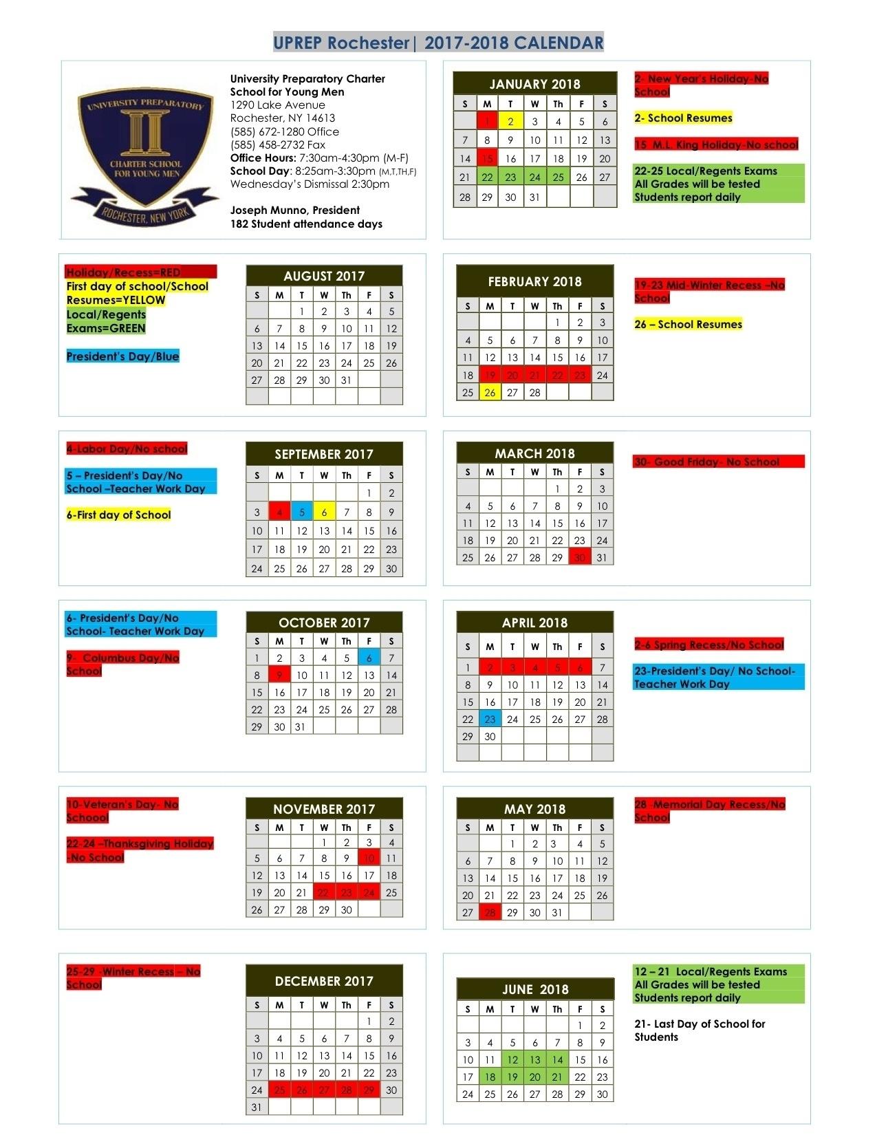 Perky U Prep School Calendar • Printable Blank Calendar Template_U Of L School Calendar