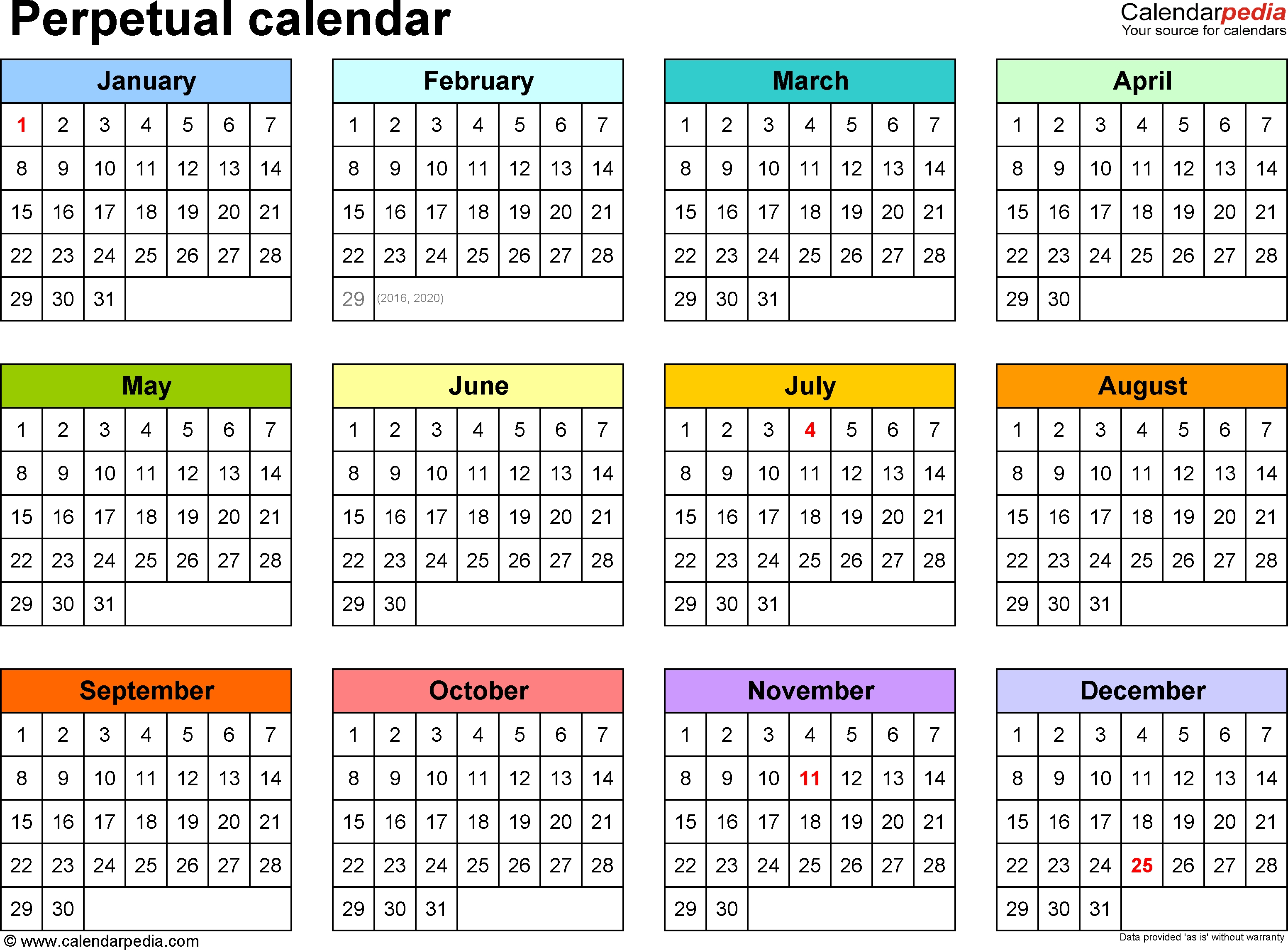 Perpetual Calendars - 7 Free Printable Word Templates_Blank Calendar No Year