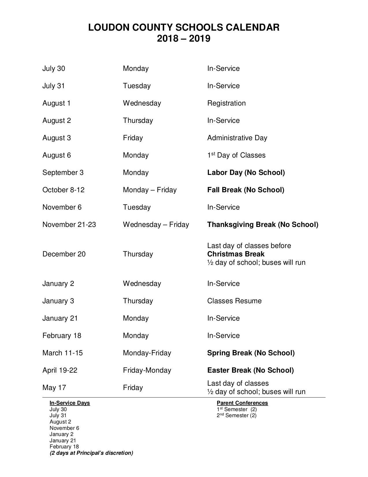 Philadelphia Elementary School_School Calendar Loudoun County