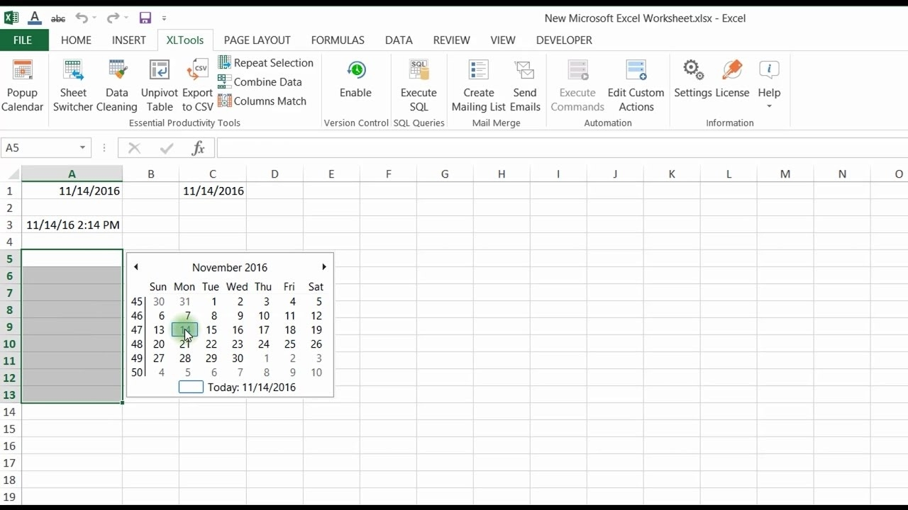 Popup Calendar For Excel | Xltools – Excel Add-Ins You Need Daily_Add Calendar Icon To Excel Cell