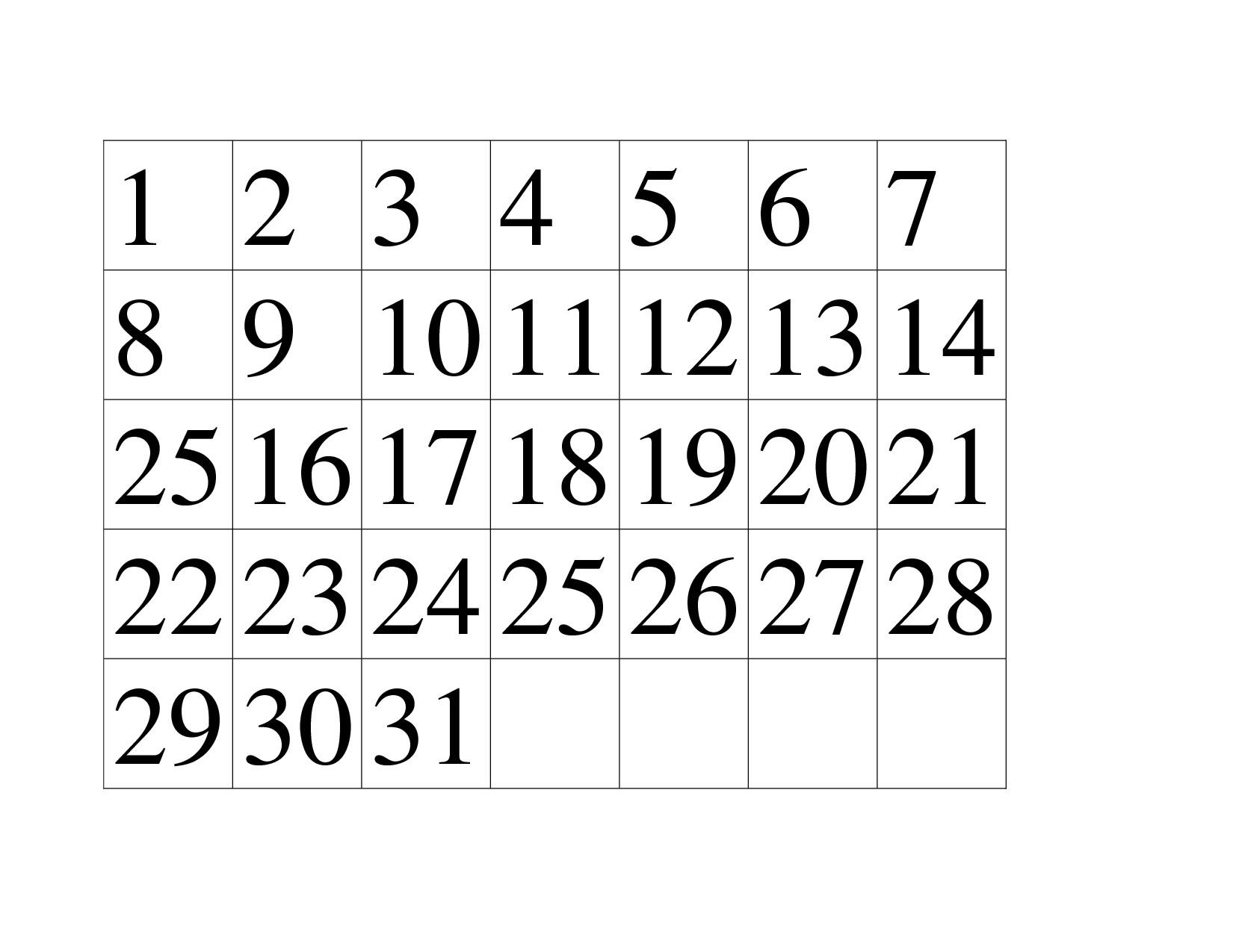 Preschool Printables Calendar Numbers Free Calendar Template Example_Printable Calendar Numbers For Preschool
