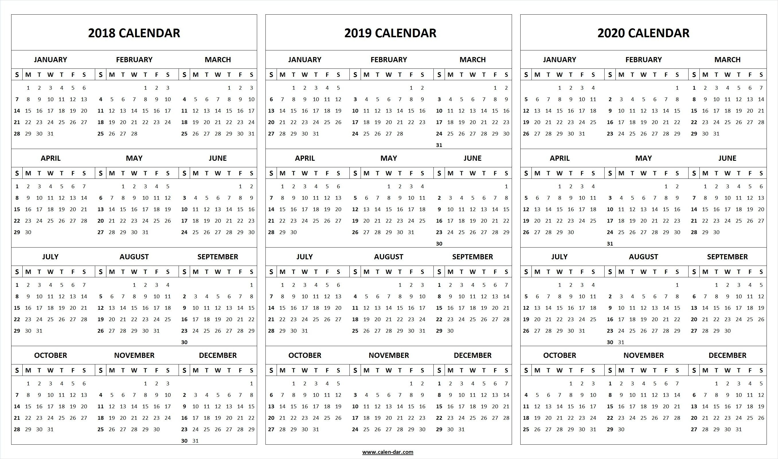 Print Blank 2018 2019 2020 Calendar Template | Organize! | 2019_3 Month Blank Calendar 2020