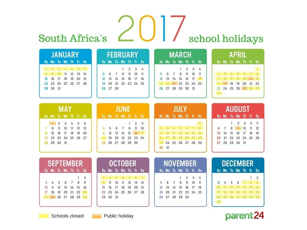 Printable: 2017 School Holidays In South Africa Calendar | Parent24_School Calendar Eastern Cape 2020