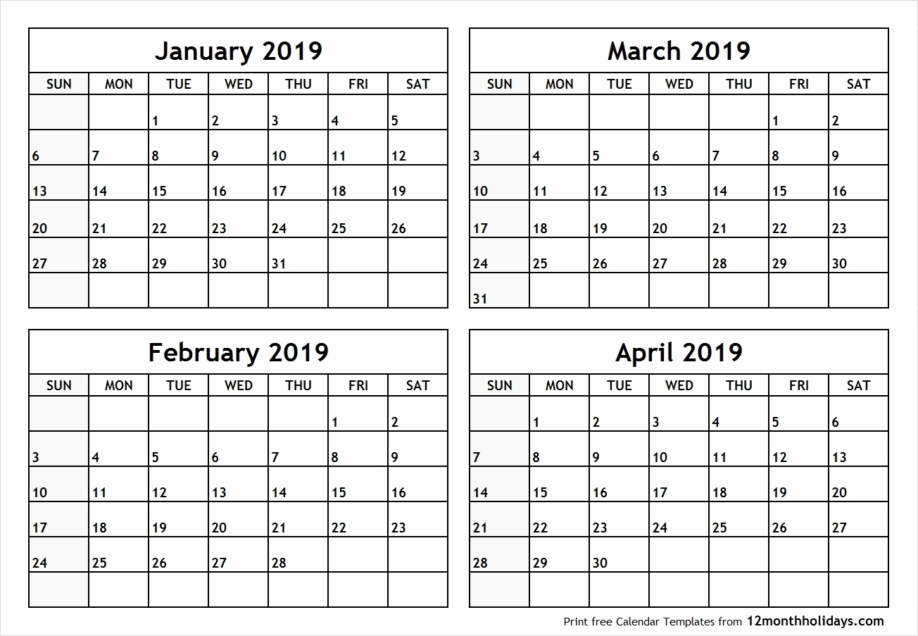 Printable 2019 Calendar 4 Months Per Pge Printable Calendar 4 Months_Blank Calendar 4 Months Per Page
