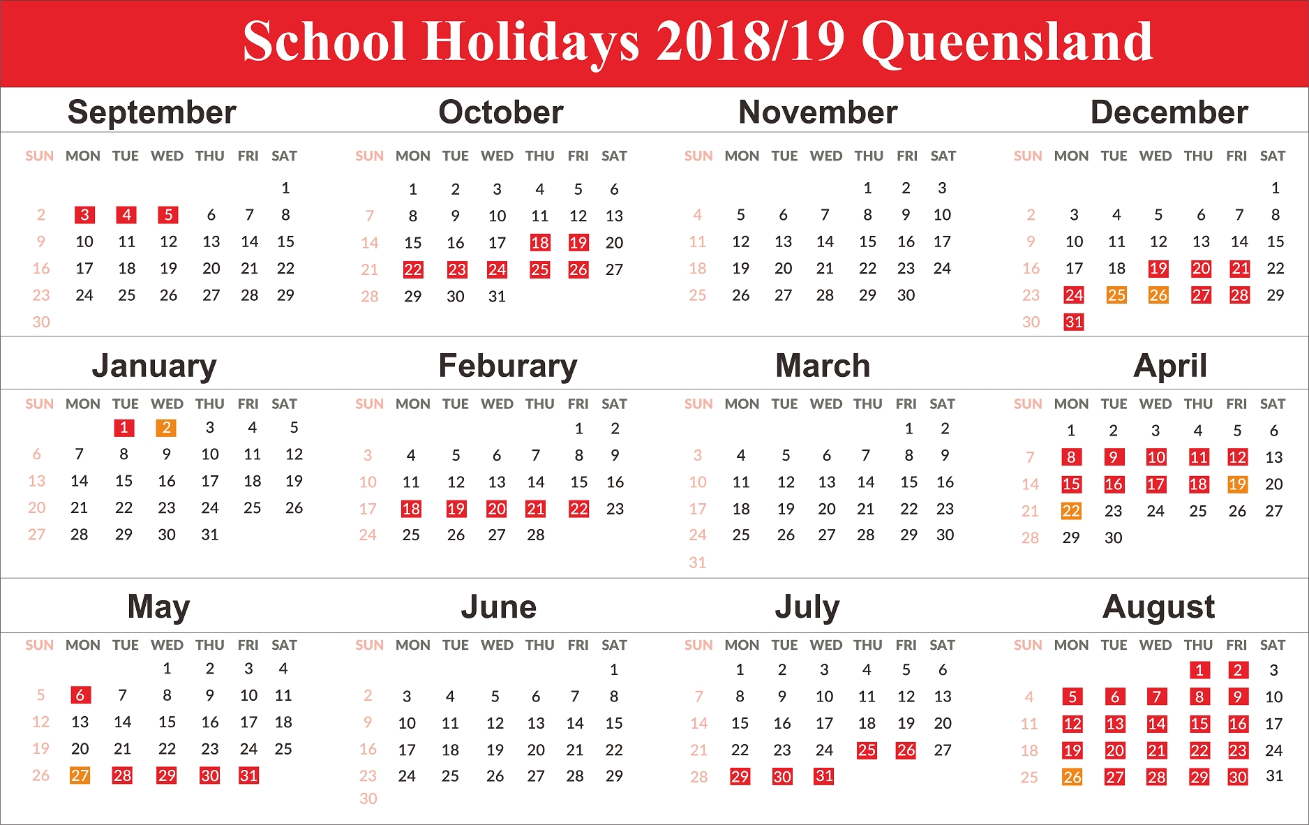 Printable 2019 Calendar With Qld School Holidays | Create Calendar_School Calendar Qld 2020