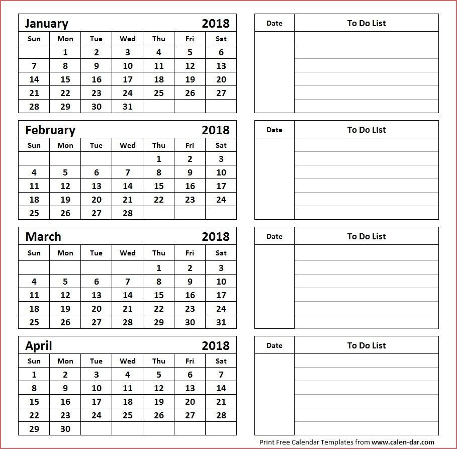 Printable 4 Month Calendar Printable Calendar 4 Months Per Page_Blank Calendar 4 Months Per Page