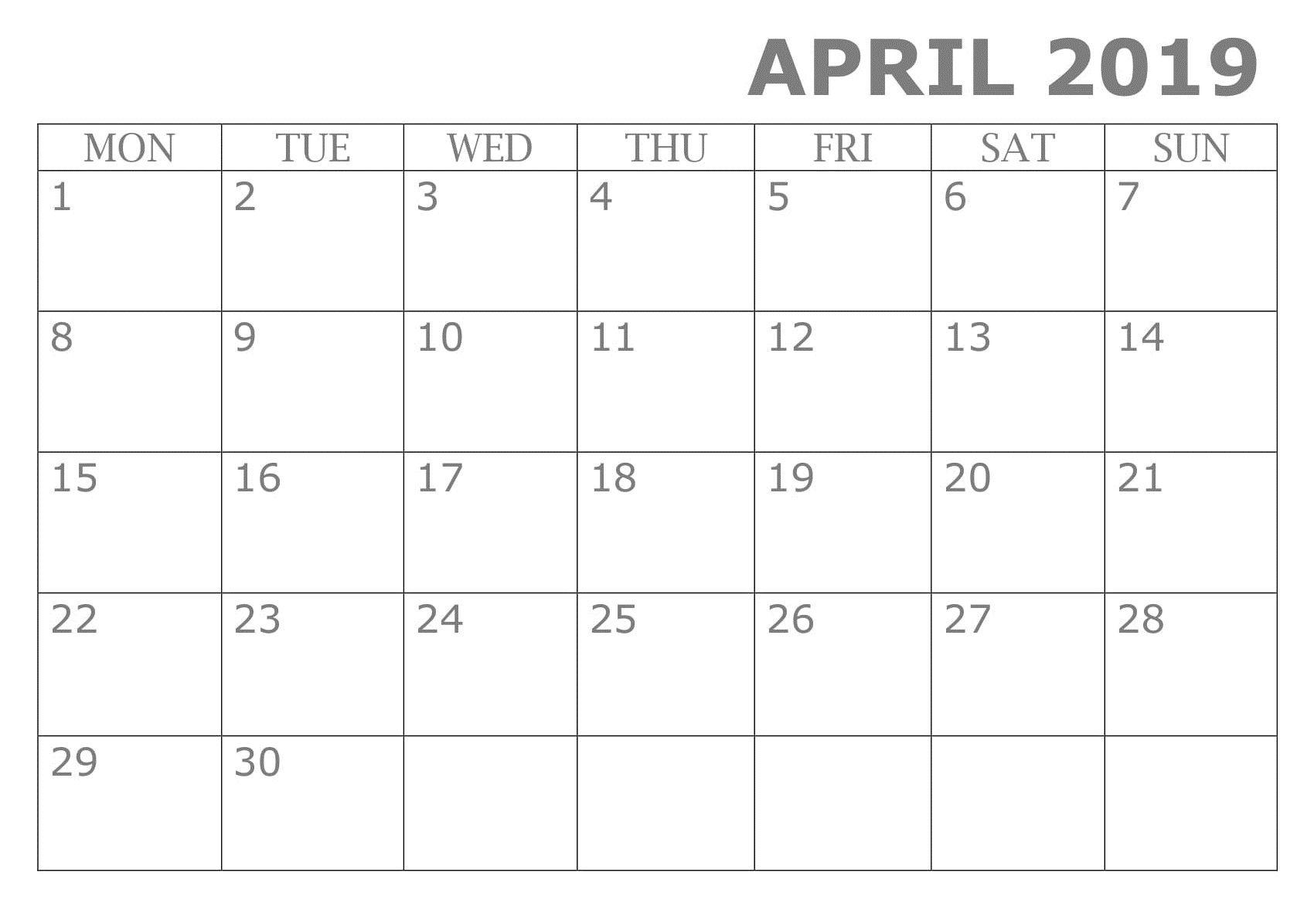 Printable April 2019 Calendar Template | Calendar April 2019_Google Calendar Gone Blank
