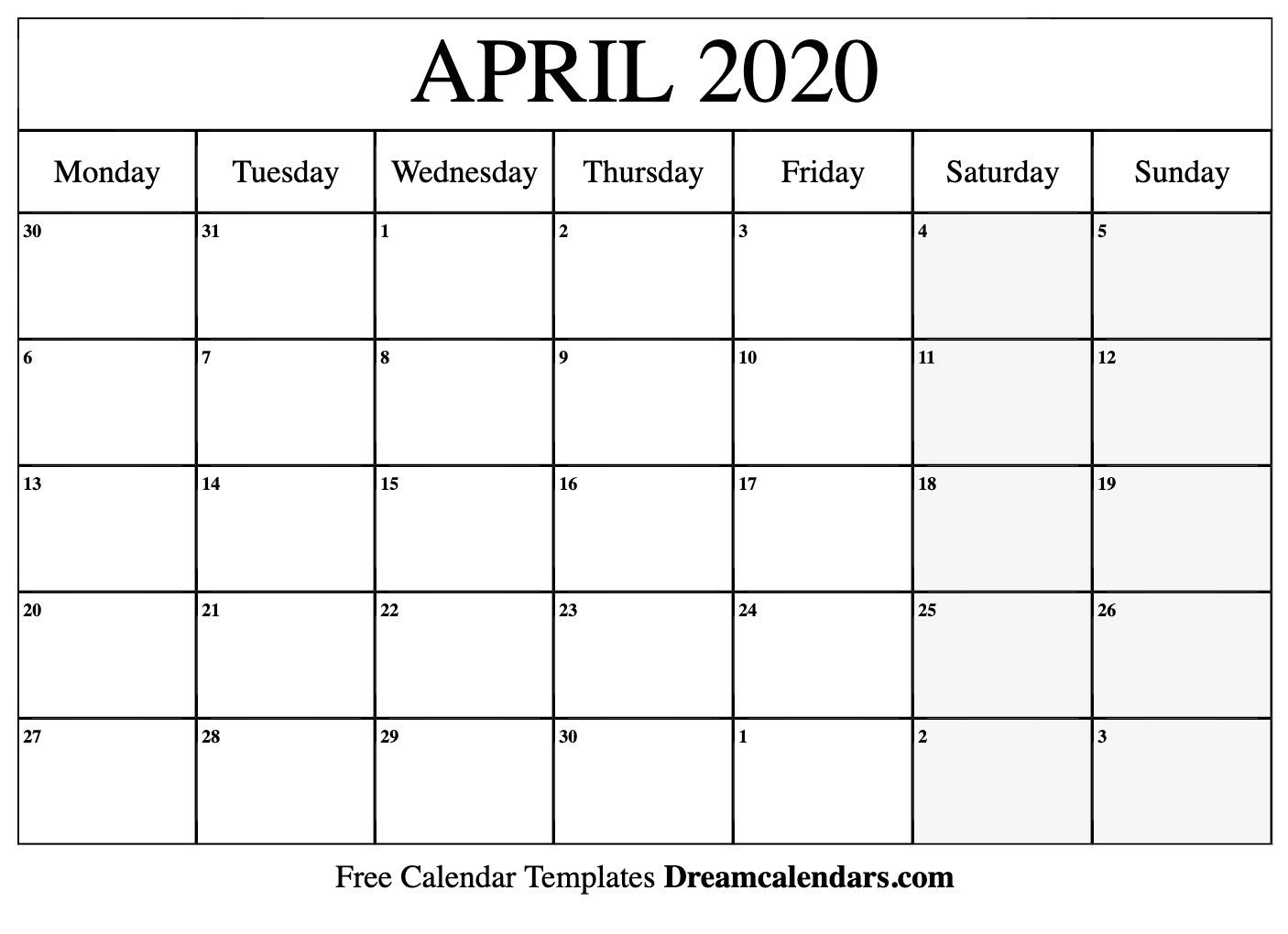 Printable April 2020 Calendar_Blank Calendar April 2020 Printable
