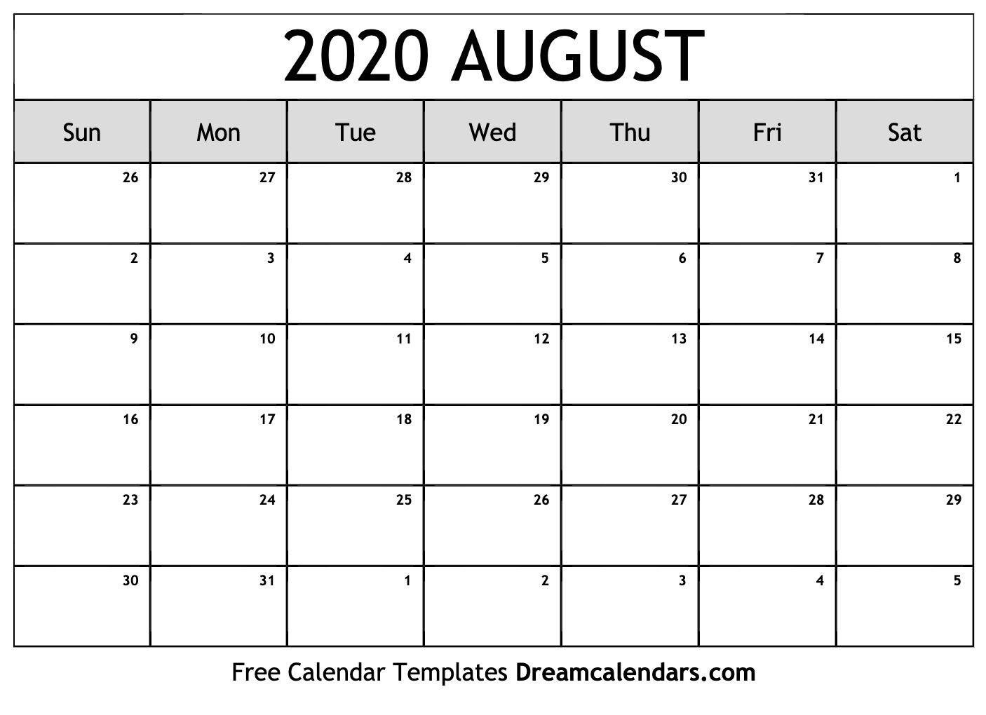 Printable August 2020 Calendar_Blank Calendar August 2020 Pdf