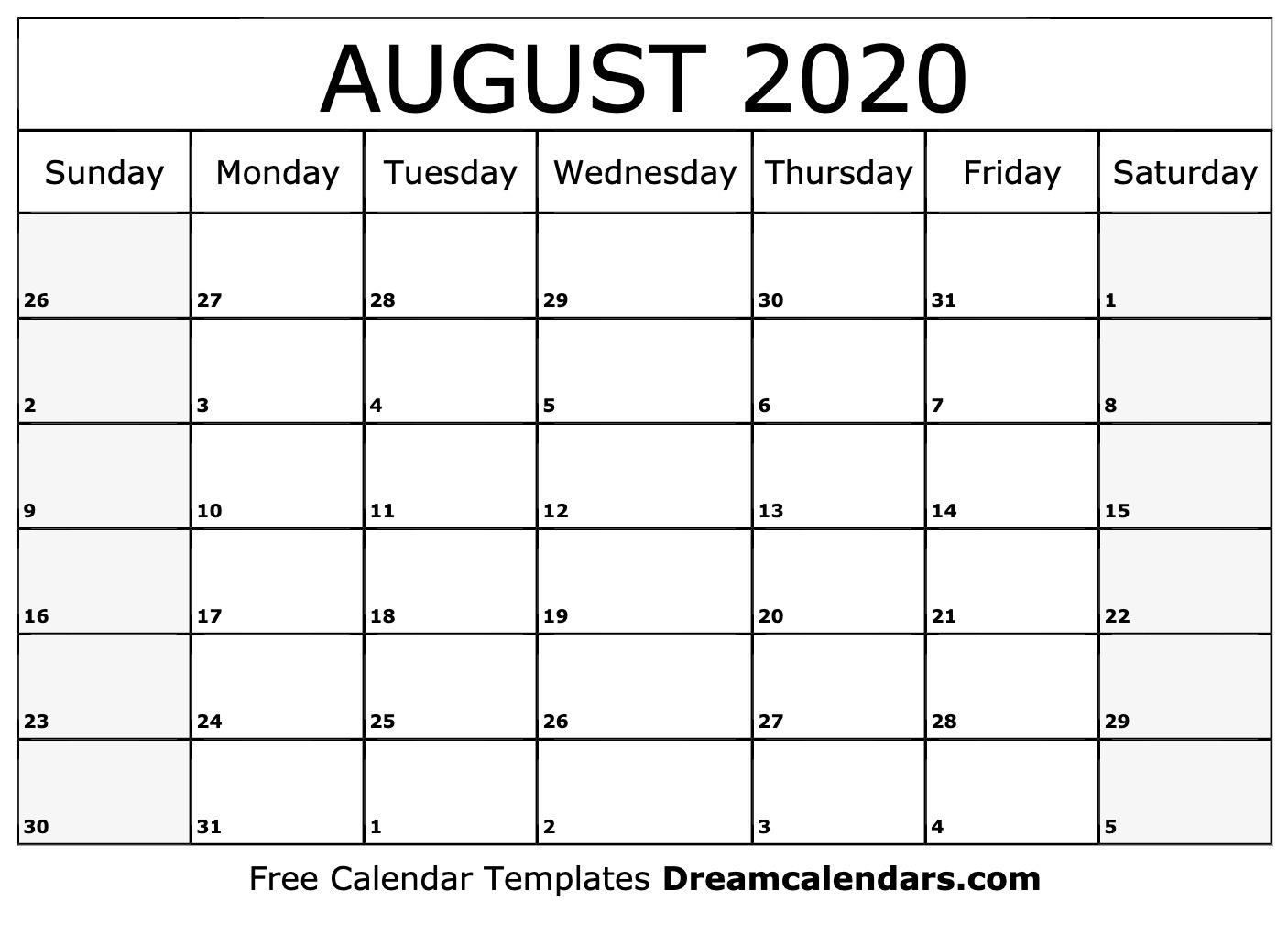 Printable August 2020 Calendar_Blank Calendar Of August 2020