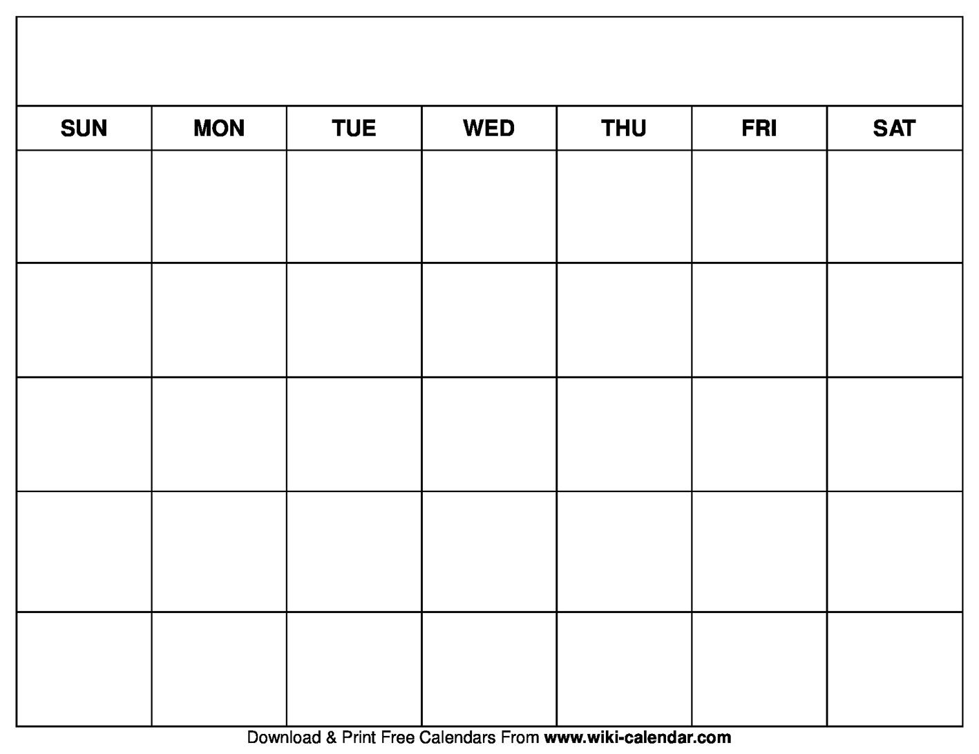 Printable Blank Calendar Templates_Blank Calendar No Year