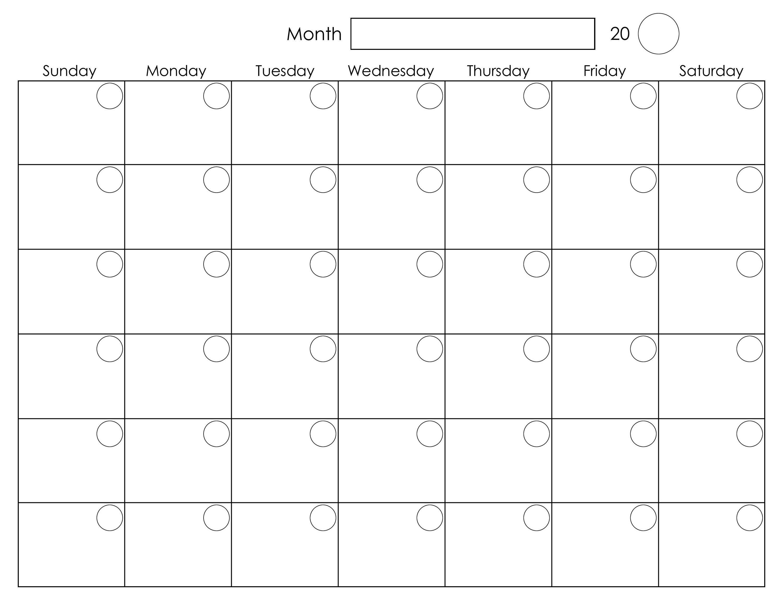 Printable Blank Monthly Calendar  </p>   </div>        <br>     <div class=