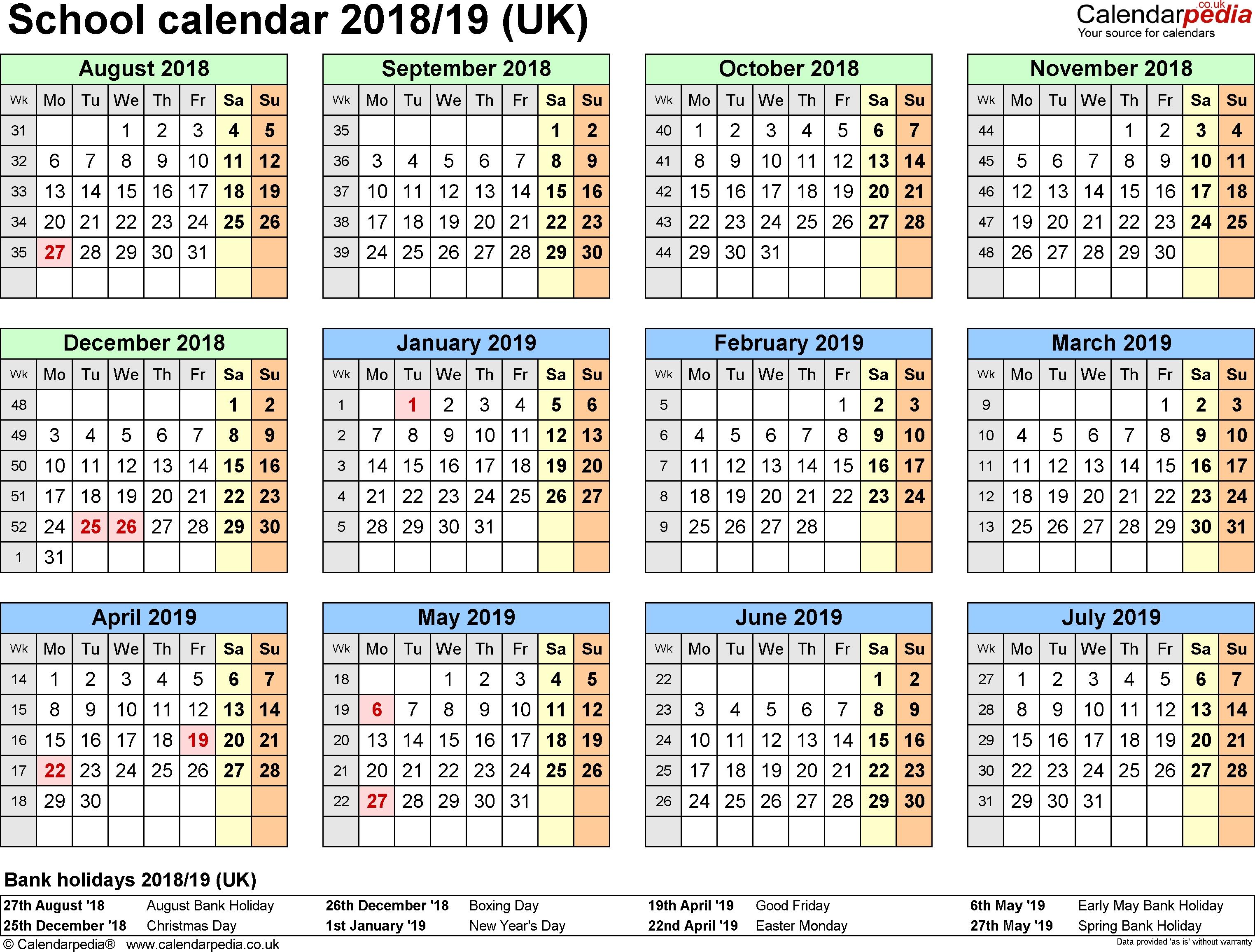 Printable Calendar 2018 19  </p>   </div>        <br>     <div class=