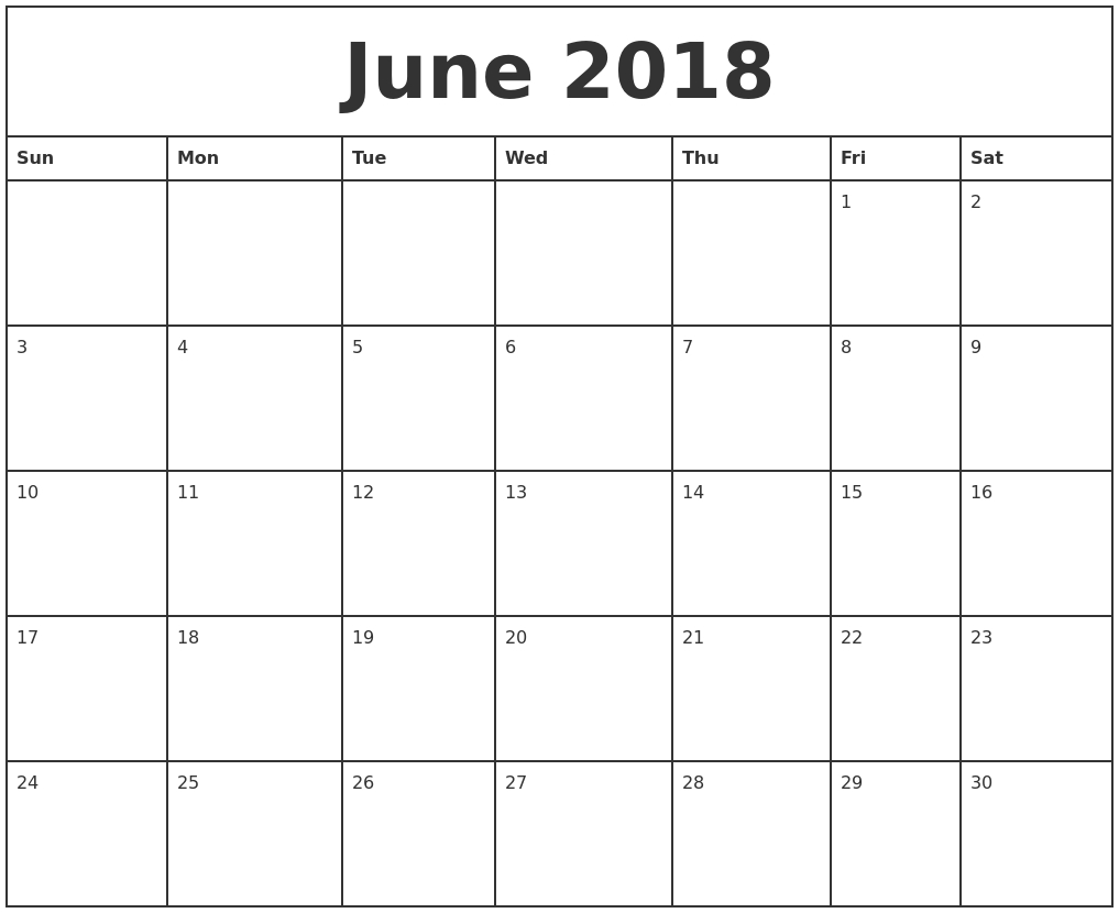 Printable Calendar 2018 That You Can Type On | Printable Calendar 2019_Blank Calendar You Can Type In