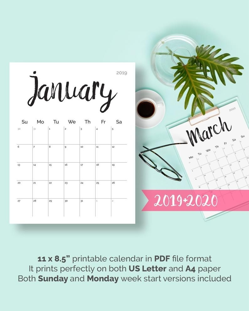 Printable Calendar 2019 2020 2018 Desk Calendar Pdf Download Planner 2019  Calendar Pages, Digital Monthly 2019 2020 Calendar Printable 2019_Calendar Printing In Zimbabwe