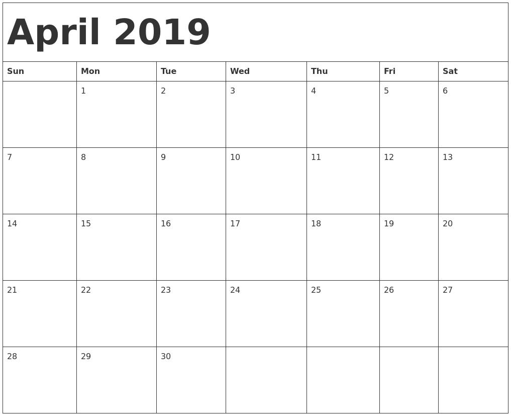 Printable Calendar 2019 April  </p>   </div>        <br>     <div class=