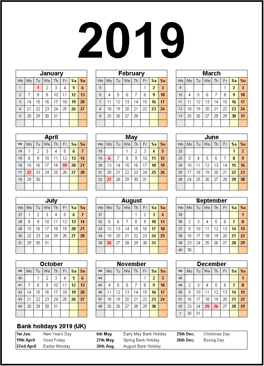 Printable Calendar 2019 United States Holidays | Monthly Calendar_Blank Calendar With Us Holidays