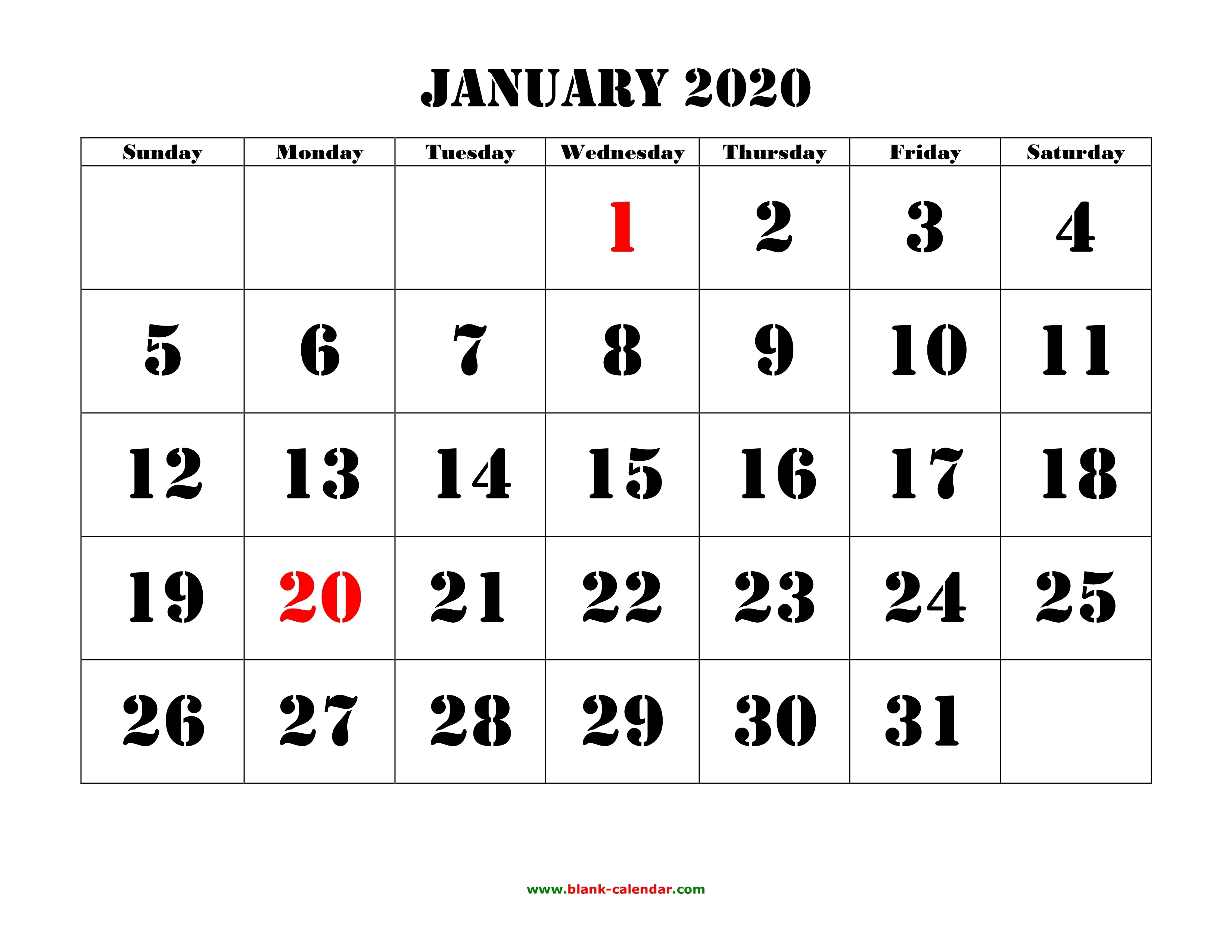 Printable Calendar 2020 | Free Download Yearly Calendar Templates_Blank Calendar 2020 3 Month