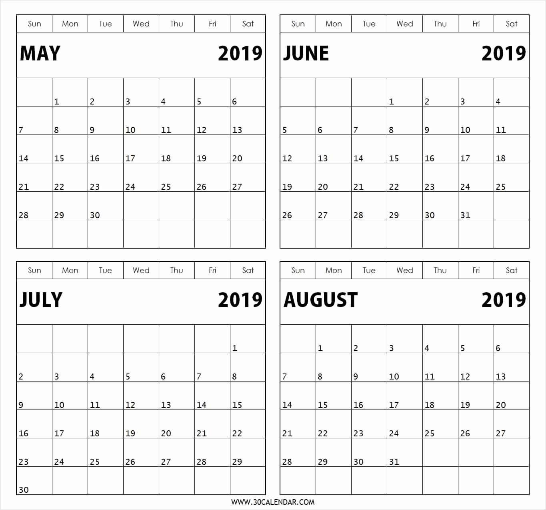 Printable Calendar 4 Months Per Page 2019 • Printable Blank Calendar_4 Month Blank Calendar