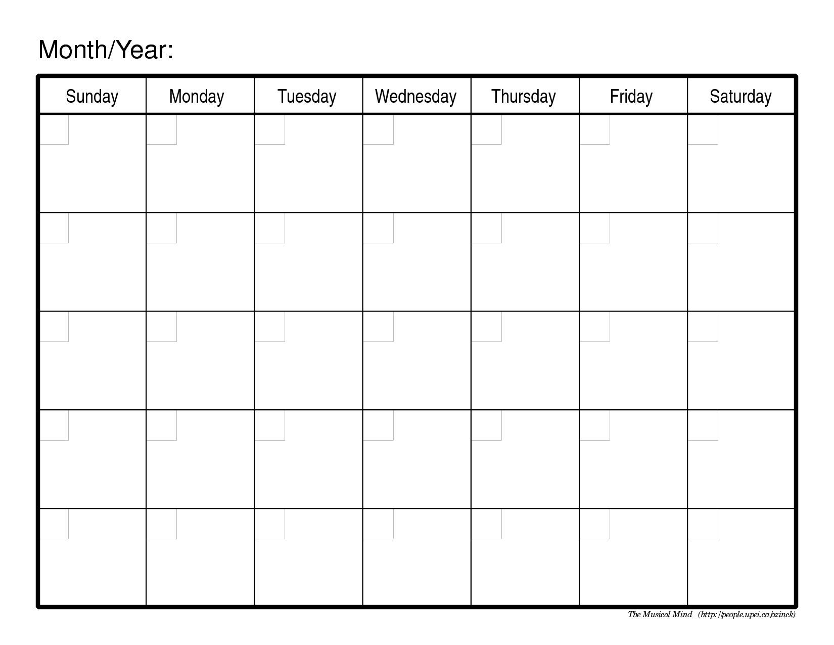 Printable Calendar Blank Month | Printable Calendar 2019_Free Calendar Blanks To Print