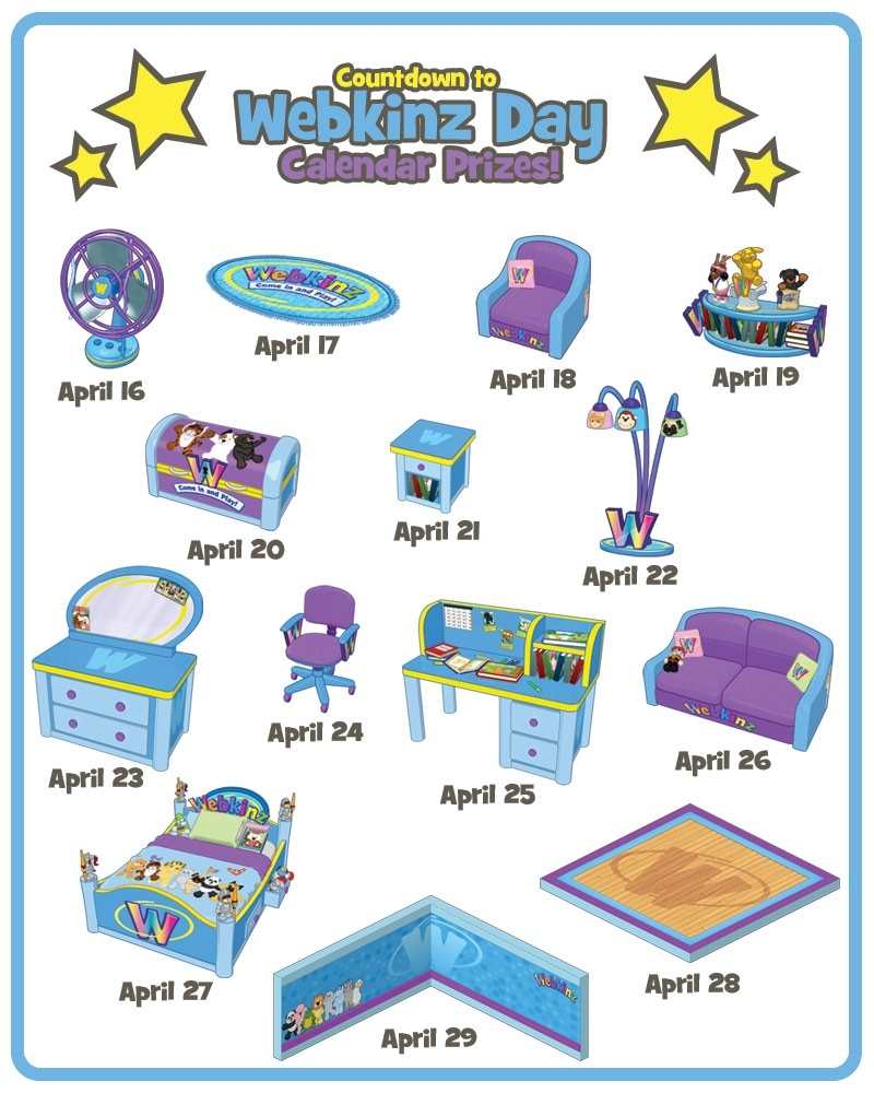 Printable Countdown To Webkinz Day Calendar With Free Codes! | Wkn_Countdown Calendar For My Computer