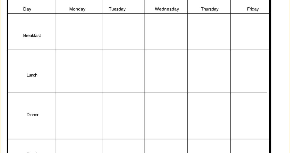 Printable Day Calendar Blank Template Week With Weekly Excel Word_5 Day Calendar Blank